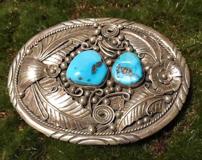 Featured listing image: Large Authentic Sterling Silver Navajo Sleeping Beauty Turquoise Belt Buckle w/Feathers & Flowers, signed by artist Betta Lee
