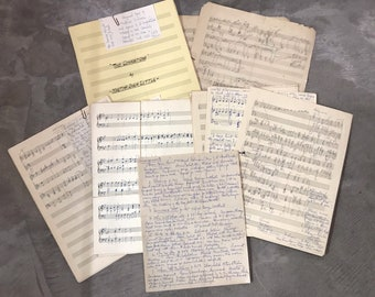 1950s Collection of Hand-Written Music Compositions in Large Format - Ephemera