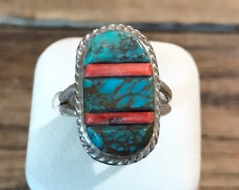 Authentic Navajo Coral & Turquoise Sterling Silver Ring signed by Victor Thompson