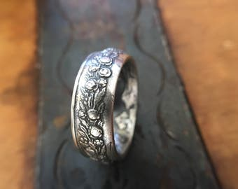 c.1868 Sterling Silver French Wedding Token Coin Ring | Wedding Band with Roses | Sizes 6-12 Handmade
