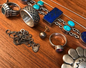 Sterling Silver - Project Pieces, Rings, Concho, Brooch 96.3g total weight