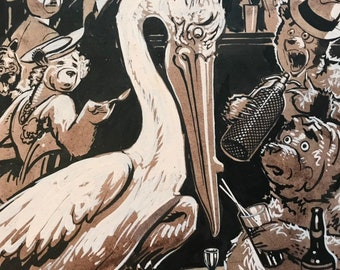 c.1930 Anthropomorphic Bear Original Illustration, Roosevelt Bears, Bar Scene with Stork