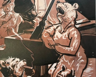 c.1930 Anthropomorphic Bear Original Illustration, Roosevelt Bears, Bar Scene with Singer