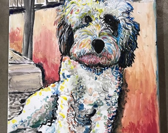 "Beautiful Labradoodle DOG Original Acrylic Painting Signed by Dennis Burt - 20"" x 16 ""Sit"""