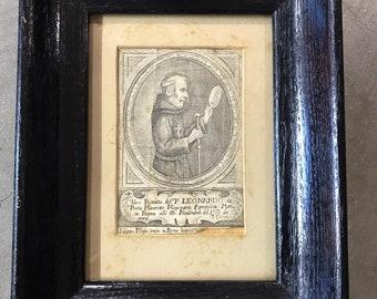 1751 Post Medeival Saint Leonardo Etching Porto Maurizo Missionario Framed Original - Rare