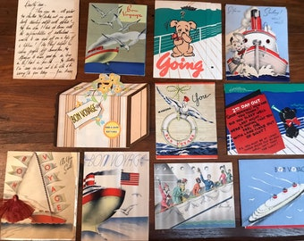 1939 Collection of Cruise Ship Greeting Cards & Handwritten Letter - Hawaii