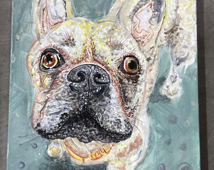 "Featured listing image: Beautiful French Bulldog DOG Original Acrylic Painting Signed by Dennis Burt - 20"" x 16 ""French"""