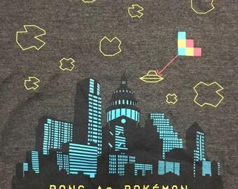 PONG to POKEMON Electronic Exhibit T-Shirt, Austin, Texas - size L