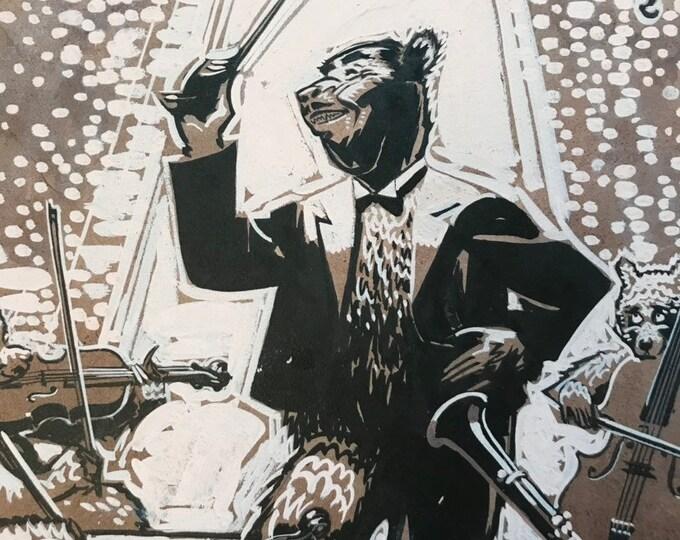 Featured listing image: c.1930 Anthropomorphic Bear Original Illustration, Roosevelt Bears, Bar Scene with Big Band