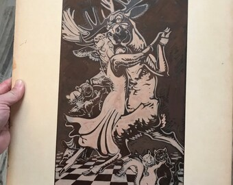 c.1930 Anthropomorphic Bear Original Illustration, Roosevelt Bears, Moose Dancing