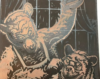c.1930 Anthropomorphic Bear Original Illustration, Roosevelt Bears, Bar Serving Drinks