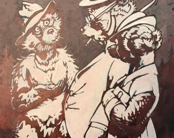 c.1930 Anthropomorphic Bear Original Illustration, Roosevelt Bears, Forests