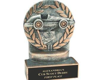 Pinewood Derby Car Resin - Kid's Award - Church Derby Car Trophy