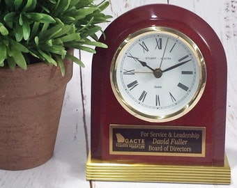 Rosewood Piano-Finish Clock with Gold Metal Base-Retirement Gift-Office Award-Great for Years of Service-Anniversary Present-Free Engraving