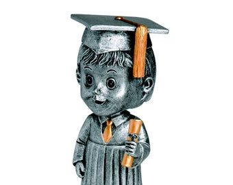 Male Graduate Bobble Head Award - Free Engraving - Graduation Gift - Great for Elementary School Graduations - Free Engraving