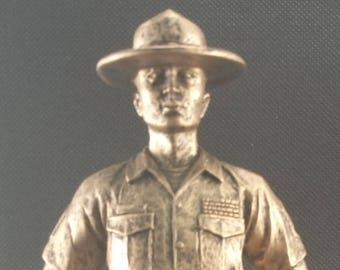 U.S. Marine Resin Statue - Military Statue - Retirement Gift - Promotion Gift - Available in Gold and Pewter Colors - FREE ENGRAVING