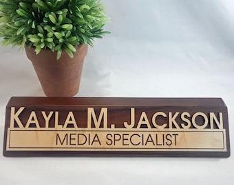 Custom Wood Name Block - 3D Laser Cut Name Block - Walnut Block with Custom Laser Cut Maple Name Plate - 10 inch Name Block - Desk Plate