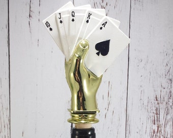 Poker -Hand of Cards Wine Stopper -Wine Cork -Trophy Figure Cork -Wine Lovers Gift -Host/Hostess Gift - Bottle Cork - Royal Flush - Poker