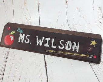 Teacher/Education Name Block -10 Inch Genuine Walnut or Red Alder Wood Name Block -Full Color Sublimated Design -Classroom/Office Decoration