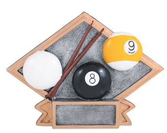 CLOSEOUT - Billiards Award - Diamond Shaped Resin - 8 Ball Award - 9 Ball Trophy - Pool Trophy