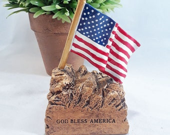Color American Flag Resin Award - American Flag Trophy - God Bless America - Free Personalization