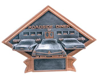 CLOSEOUT - Car Show/50's Theme Diamond Shaped Award - Car Show Trophy