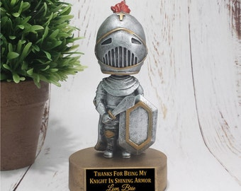 Knight Bobble Head Resin Award - Great for Valentine's Day - Knight in Shining Armor - School Awards