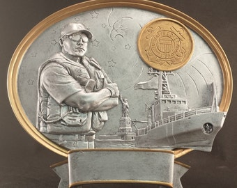 Coast Guard Oval Free Standing Statue - Male - FREE ENGRAVING