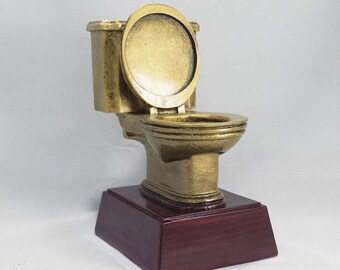 Golden Toilet Resin Award - Toilet Trophy - Free Personalization