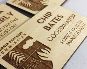Custom Engraved Wooden Name Badge - Maple Nametag - Magnetic Back