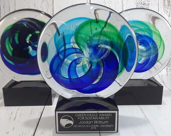 Art Glass Disk with Blue and Light Green Accents - Glass Award - Free Engraving - Corporate Award - Glass Trophy