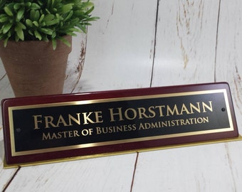 Piano Finish Desk Name Plates - Available in Rosewood or Black Satin - Free Personalization - Desk Accessory - Name Block  - Corporate Gift