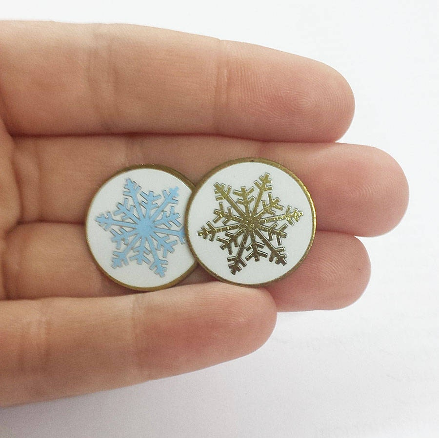 Vintage Snowflake Enamel Lapel Pins - Available in 2 Colors (Limited ...