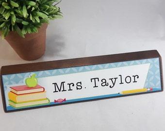 Teacher Name Block - 10 Inch Genuine Walnut  or Red Alder Wood Name Block - Full Color Sublimated Design - Classroom/Office Decoration