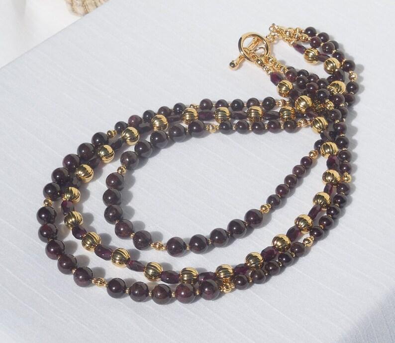 30/% off Genuine garnet gemstone and gold 3-strand necklace