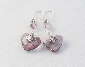 Swarovski crystal heart and sterling silver earrings