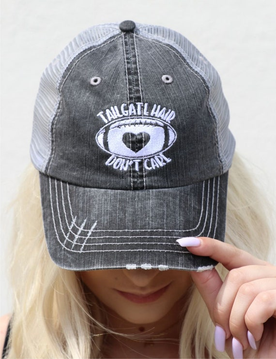 2acf63391b31d Tailgate Hair Don t Care Embroidered Trucker Hat Game Day