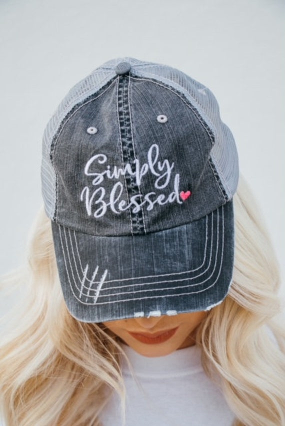 8d7d0d0d863 Simply Blessed with Pink Heart Embroidered Trucker Hat Summer
