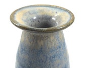Vase, blue and coral/peach glaze, stoneware pottery