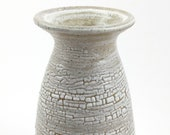 Vase, white crawl glaze, stoneware pottery