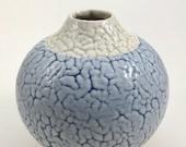 Moonjar (vase), blue and white crawl glaze, stoneware pottery