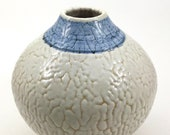 Moonjar (vase), white and blue crawl glaze, stoneware pottery