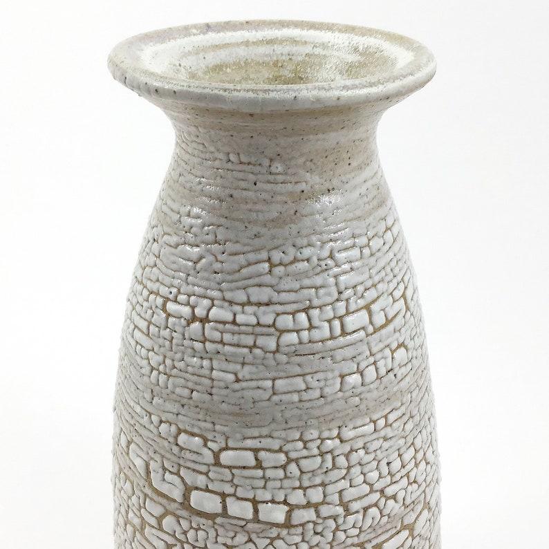 Vase white crawl glaze stoneware pottery image 0