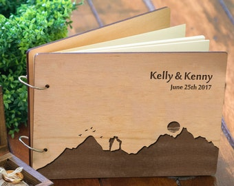Wedding Notebook Custom, Mountains Wedding Guestbooks, Engraved Bridal Shower Book, Personalized Guest Book Wedding, Rustic Wedding Gift