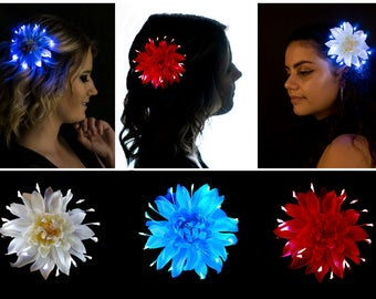 Fourth of July Firework Flower Hair Accessory 3 Pack Light Up Fascinators