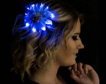 Blue Small Light Up LED Hair Flower Clip