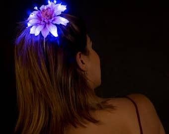 Purple Small LED Fairy Glow Hair Flower Clip