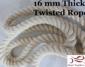 16 mm Thick 100% cotton Rope Cord, Beige Natural Decoration, Twisted Rope Eco Friendly DIY Craft, Bracelet Nautical Decor Handle Upcycle