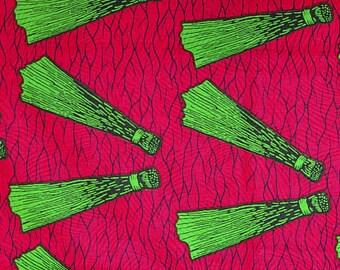 African Fabric Wholesale ~ Fuchsia/Pink Broom Adinkra ~ Sold by Yard~Authentic UK Import, Luxury Holland Wax Print Ankara