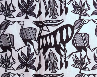 African Dogon Gazelle Print, Black and White, From Mali, Sold BTY, 100% Cotton ~ Authentic Wax Print Batik Imported African Fabric